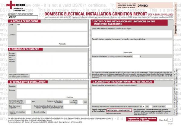 Electrical Safety Certificates Sample